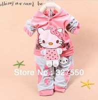 baby hello kitty 2pcs set baby girls tracksuits Girl's Hello Kitty clothing sets velvet Sport suits hoody jackets +pants GCT-282