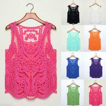 Hot Lace Floral Sleeveless Crochet Knit Vintage Women Vest Tank Top Shirt New