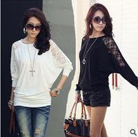 Hot Selling New 2015 women fashion plus size basic shirt  mm spring autumn loose lace long-sleeve T-shirt S-5XL free ship YU211