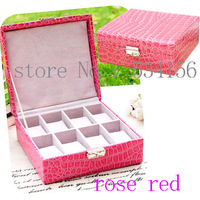 Display watch can fit into a 8 watches luxury leather watch boxes gift box jewelry watch box 20.5*19.5*8.5cm rose red color