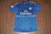 top thailand quality Real Madrid 2014/15 goalkeeper football shirt equipment Real madrid goalie blue soccer jersey kit 2015