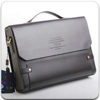 Men's business bag leather shoulder bag inclined messenger bag bag can put A4 leather  briefcase men free shipping