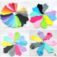 10 pairs/lot Women's Socks Solid Color Love Candy Color Dot Sock Women's Thin Sock Slippers.Mix Colors Free Shipping
