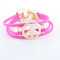 Fashioin Leather Bracelet Three Layers Peace Sign Bracelet (12pcs/lot) Wholesale LR0004