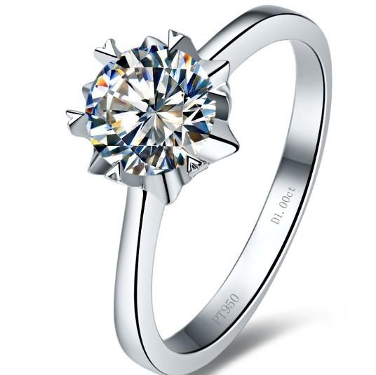 Luxury Jewelry Solid 18K Gold 1 Carat Moissanite Ring For Women Wedding Engagement Anniversary Ring Royal Designer Customized(China (Mainland))