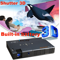 Freeshipping Built-in Battery 1000ANSI Lumens Portable DLP Projetor Blue-ray shutter 3D 3LED Full HD Projector convert 2D to 3D