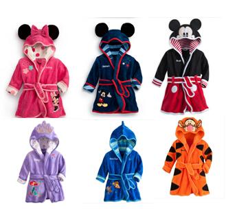 free shipping 1set 2014 new baby girl/boy cartoon Pajamas Micky Minnie Mouse Bathrobes Robe kids soft Bath towel 6 color(China (Mainland))