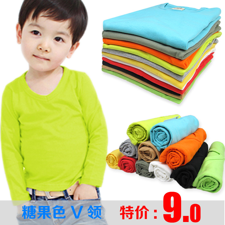 2014 New Autumn Spring kids V neck tees children's clothing / candy color / long sleeve t shirts for girls and boys coat(China (Mainland))
