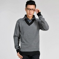 Spring Autumn new Korean men's Knit men sweater fake two business shirt Black dark gray light gray M L XL XXL