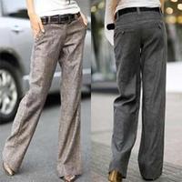 Autumn 2014 Breathable Fashion White Collar Career Linen Pants Wide Leg Pants Women Plus Size Free Shipping