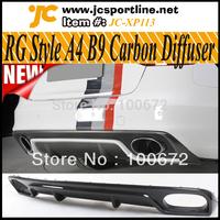 RG Design A4 B9 Carbon Fiber Diffuser Car Rear Lip Spoiler for Audi A4 B9,fits: 2013 A4 B9 Standard Bumper Non Sline