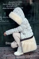 2013 Winter luxury faux fur women's Detachable Slim Lace Down coat lady's thicken long jacket High Quality Freeship