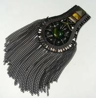 (Min Order $15)  vintage PUNK fivestar spike tassel brooch / tassel epaulet / epaulette / shoulder loop, Punk Jewelry