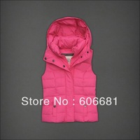 Free shipping 2014 down vest coat women winter fashion outerwear hooded waistcoat, zipper vest brand clothes cheap price sale