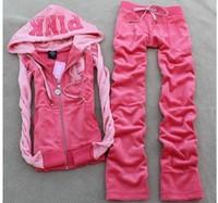 Hot-selling 2014 women's autumn Hoodies  PINK color block velvet sports sweatshirt  Free Shipping