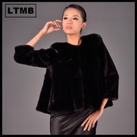 LTMB  New fashion women's mink fur with O-neck collar three quarter sleeve short ladies mink fur coat 2014