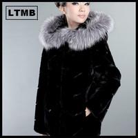 2014 women's full leather rex rabbit hair silver fox fur coat medium-long long-sleeve 2014
