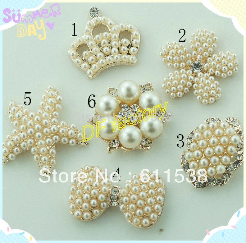 pearl embellishment for handmade flower,flower center buttons ,flat back rhinestone embellishment for ribbon bow (MOQ:20/lot(China (Mainland))