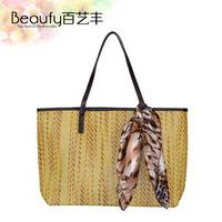 2013 beach bag one shoulder straw bag women's cross-body bag trend handbag bag hand tied