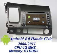 "3D ui 7 ""Android 4.0 Car DVD Player for CIVIC Left (2006-2011) with GPS 3G/WIFI Radio Audio BT TV FM IPOD RDS 4G SD Map"