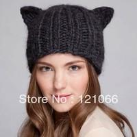 Free shipping 2013 New Arrival Winter Warm Hat Women's Devil Horn Knitted Hats Cat Ears Knitting Caps Female hat