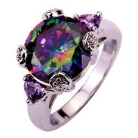 Facile Design Noble European Jewelry Royal Genuine Rainbow Topaz Amethyst Rhinestone 925 Silver Ring Size 6 7 8 9 10 11(US)