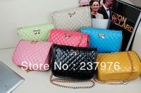 2013 Fashion genuine leather lady's quilted handbag, portable genuine leather mini handbag with long chain shoulder strap