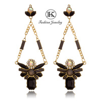 Wholesale 2014 New Mother's Day Gift Fashion Dress Zirconia Earring 18k Gilded Exaggerated Large Crystal Drop earrings