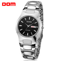 New 2014 men fashion trend Dom brand luminous 200m waterproof calendar business casual quartz tungsten steel watch