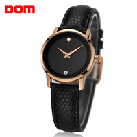 New 2014 women's fashion trend Dom vintage rhinestone mechanical waterproof genuine leather strap ladies quartz business watch