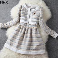 NEW 2014 autumn winter fashion brief slim o neck knee length dress + long sleeve short blazer women brand dress suit office wear