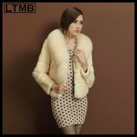 LTMB Women rex rabbit fur coat short style turn down fox fur collar full sleeve real fur ladies   new fashion for 2014