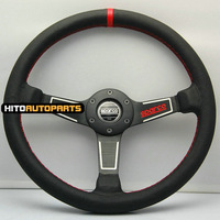 "New Model 14"" SPARCO Racing Car Steering Wheel 340mm Real Leather RED Stitch"