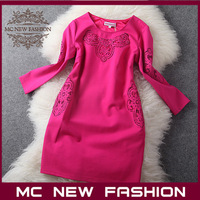 2013 Brand Fashion Long-sleeve Dress Women's Hollow Embroidery Temperament Elegant One-piece Dress #4961 Free Shipping