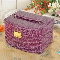 Fashional Three Layers Jewelry Case Organizer Crocodile Grain Cosmetic Cases  Automatical Princess Caskets 6 Color