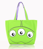 New 2014 green tote bag for teenager girls, cartoon printing soft cotton handbag, free shipping B6603