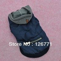 Free Shipping! Windproof Small Pet Dog Clothes with Hat & Zipper Thick Autumn Winter Coats Classic Design Dark Blue Color XS S M
