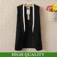 Autumn New 2014 Fashion Brand Women Clothing Patchwork V Neck Long Vest Women Coat Top Quality Cardigans Colete Blazer Vests