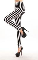 Popular Sexy Vertical Stripes Zebra Leggings Pants Striped Tight Black White Colors
