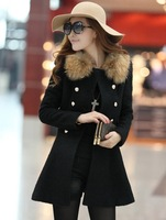 Free shipping!! Women's woolen outerwear medium-long turn-down collar winter female slim wool cashmere wool coat