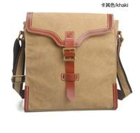 Canvas + Crazy Horse Leather Bag College Wind Retro Casual Bag Shoulder Bag Messenger Bag Travel Bag School Bag Free Shipint