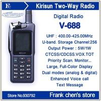 Walkie Talkie KIRISUN 5Watt UHF Commercial Digital Portable Two-way Radio V688 Free Shipping