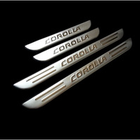 Stainless steel scuff plate door sill cover trim plate 4pcs/set car interior for 2007 2008 2009 2011 2012 Toyota Corolla