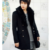 Free shipping 2013 new autumn and winter fur collar coat men coat men's fashion Slim men's casual men's coats