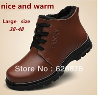 Free shipping 100% genuine leather men's boots larger size 38-48