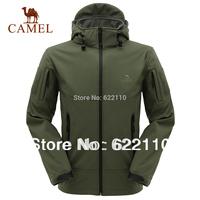 Camel Men's outdoor casual outerwear waterproof windproof fleece soft shell ,hoodied jacket,in stock,freeshipping2f14025