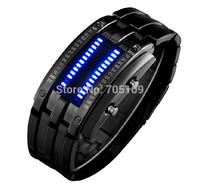 Fashion Cool Lava Full Steel Sport Bracelet Watch LED Blue Light Men Military Binary Led Digital Watches