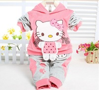 Baby suit Hello Kitty clothing sets velvet Sport suits hoody jackets +pants