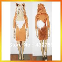JLWC-5650 Free Shipping MOQ 1 set New Women Sexy Cute Orange Tail Animal Fox Costumes Halloween Cosplay Dress