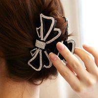 Free shipping!Hair accessory crystal bow Large gripper hair caught hair pins accessories korean accessories head jewelry chain